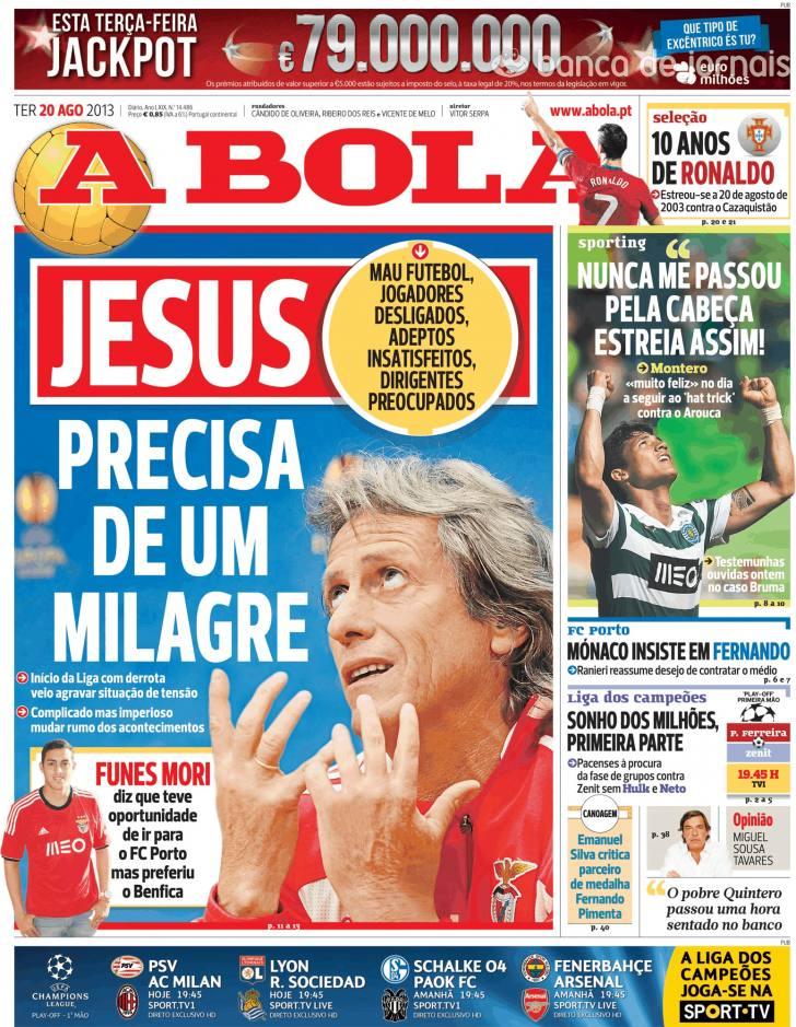 Jornal Diário Capas Jornais Desportivos 20 Agosto 2013