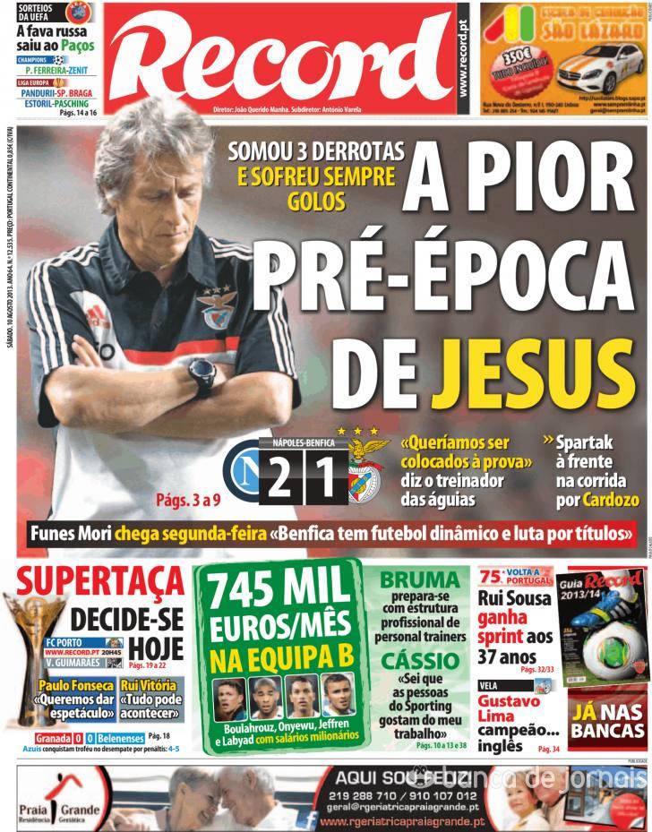 Jornal Diário Capas Jornais Desportivos 10 Agosto 2013
