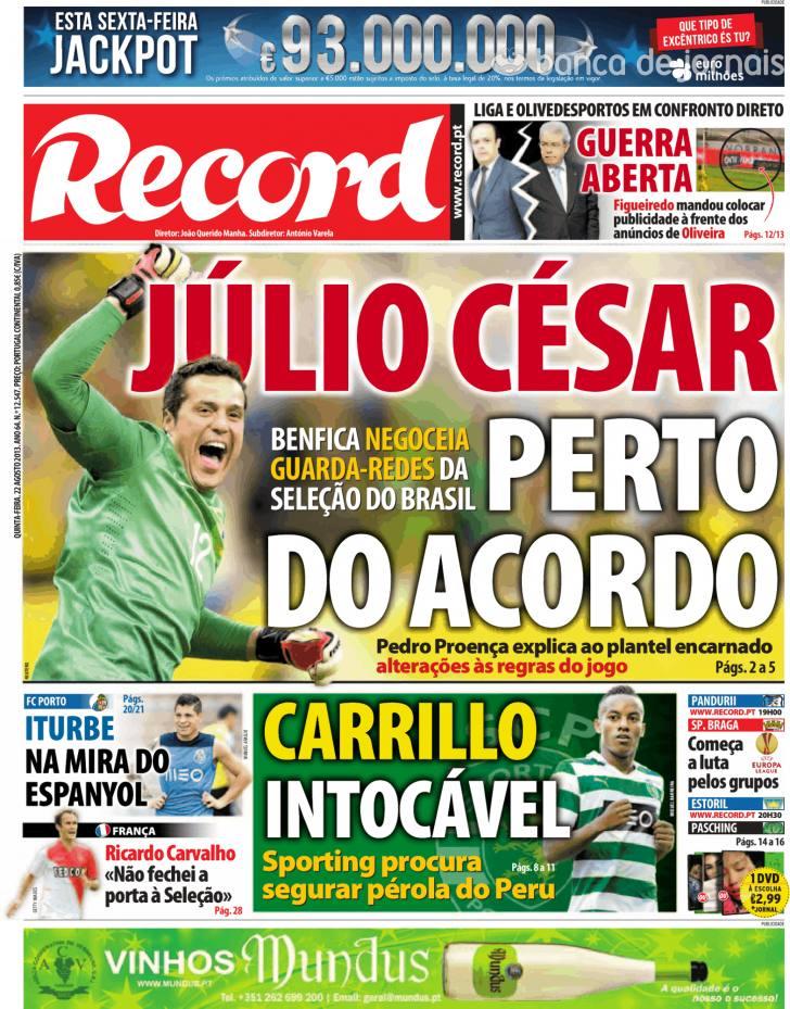 Jornal Diário Capas Jornais Desportivos 22 Agosto 2013