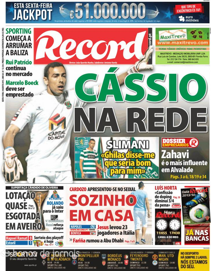 Jornal Diário Capas Jornais Desportivos 9 Agosto 2013