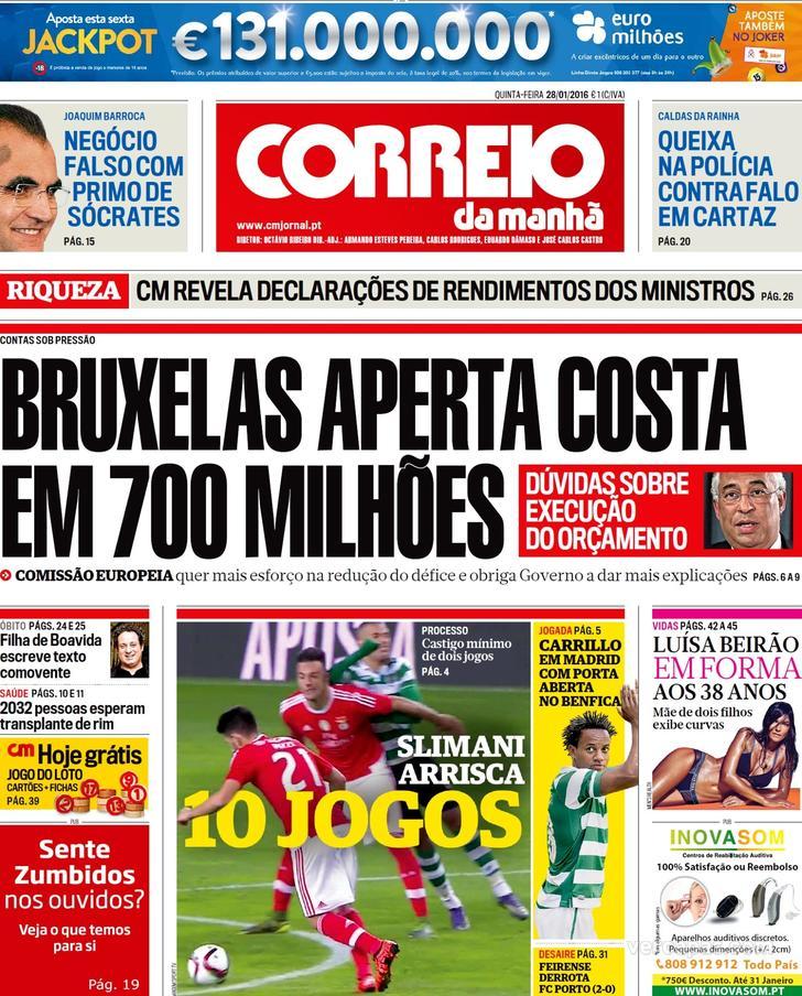 JORNAL CORREIO DA MANHÃ 28.01.2016
